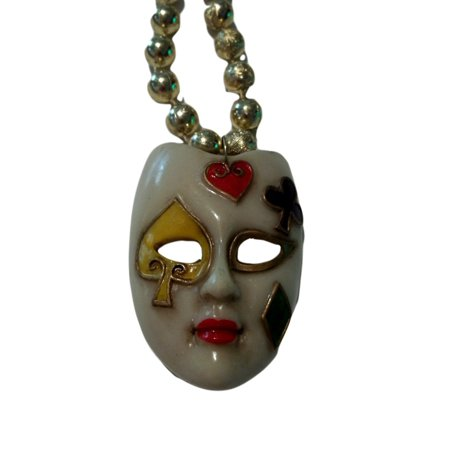 White Poker Face Mask Necklace Golden Beads Bead - White Bead Necklaces