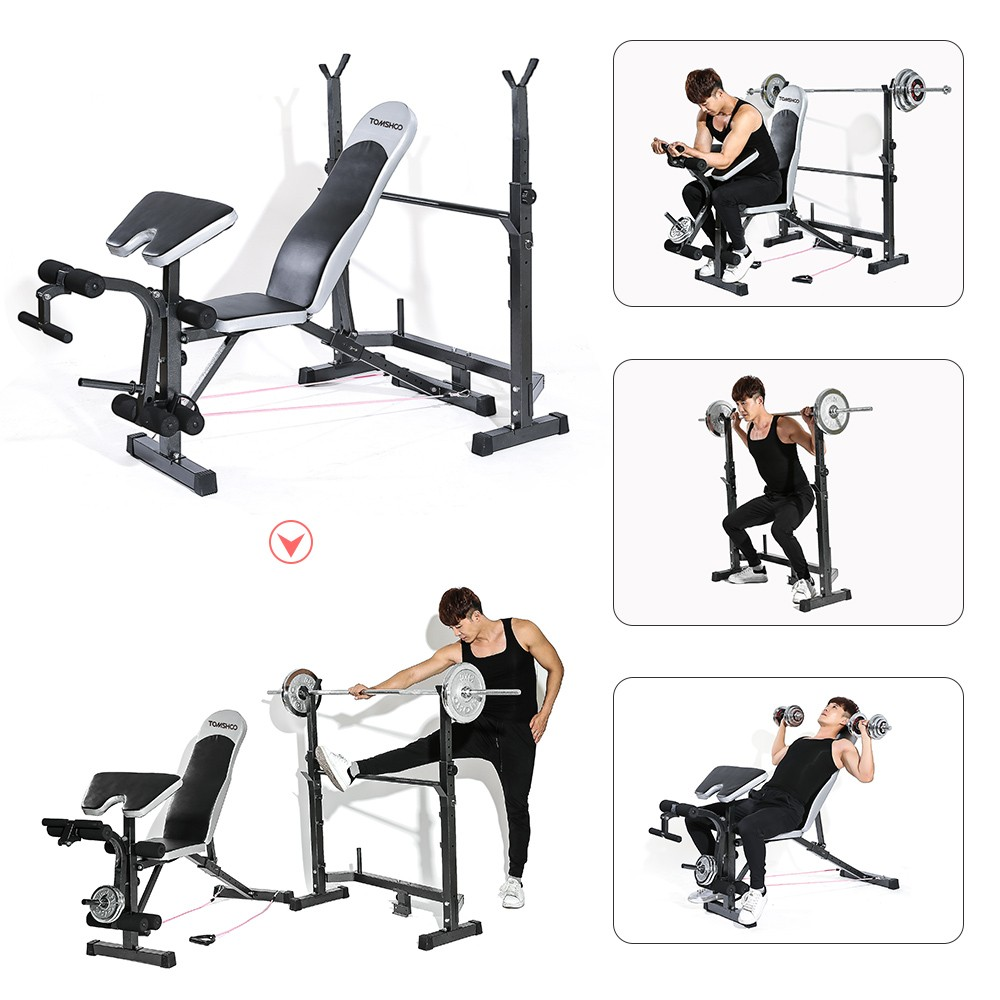 TOMSHOO Adjustable Multi-Station Weight Bench Home Gym Fitness Equipment, compact folding weight bench,powerlifting bench for sale,small workout equipment for home