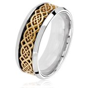 Stainless Steel Gold Celtic Knot Carbon Fiber Ring (8mm)