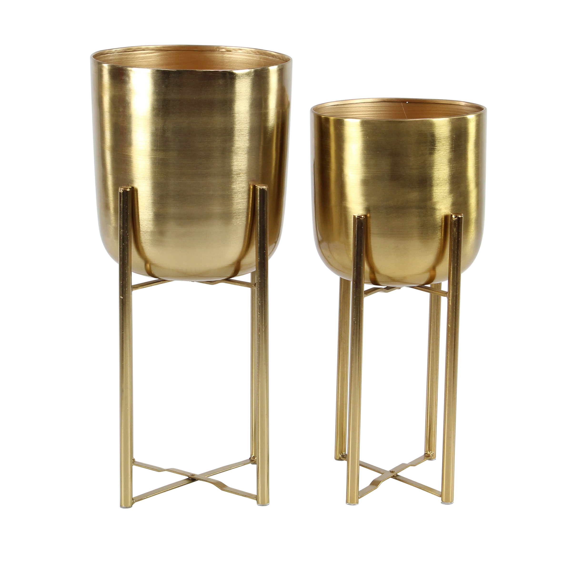 Decmode Contemporary 19 And 22 Inch Gold Iron Planters With Stands - Set of 2