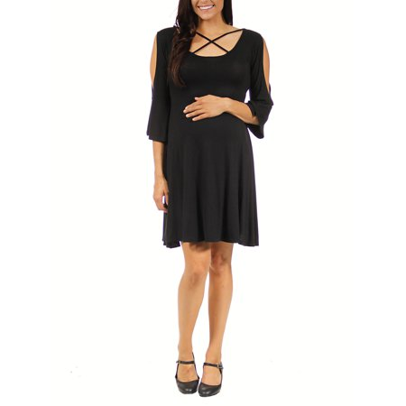 Maternity Cross Bodice - Women's Maternity Split-Sleeve Cross Fabric Dress