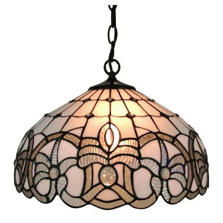 Amora Lighting AM294HL16 Tiffany Style White Hanging Lamp 16 Inches - Tiffany Reverse Hanging