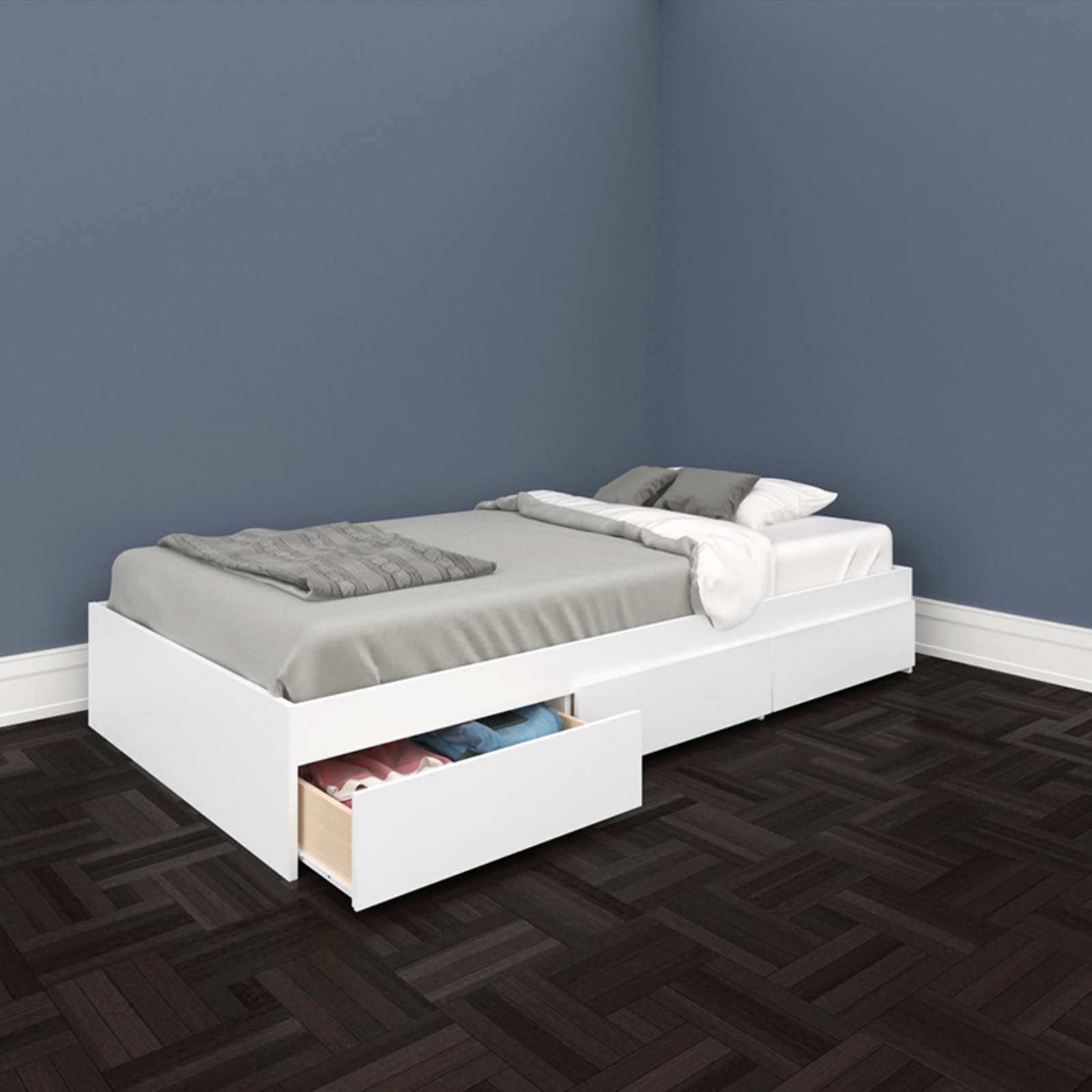 Nexera Blvd 3 Drawer Storage Bed in White-Full