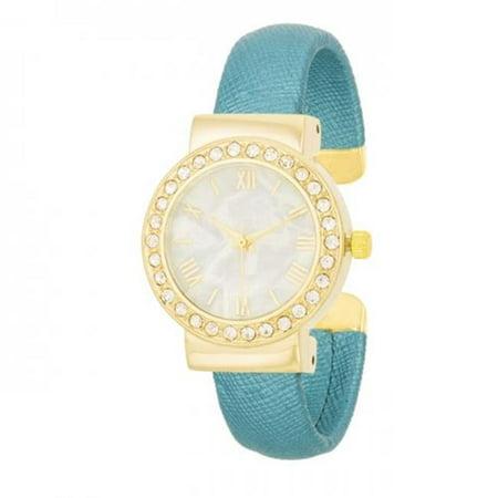 Fashion Shell Pearl Cuff Watch with Crystals Look Fashion Cuff Watch