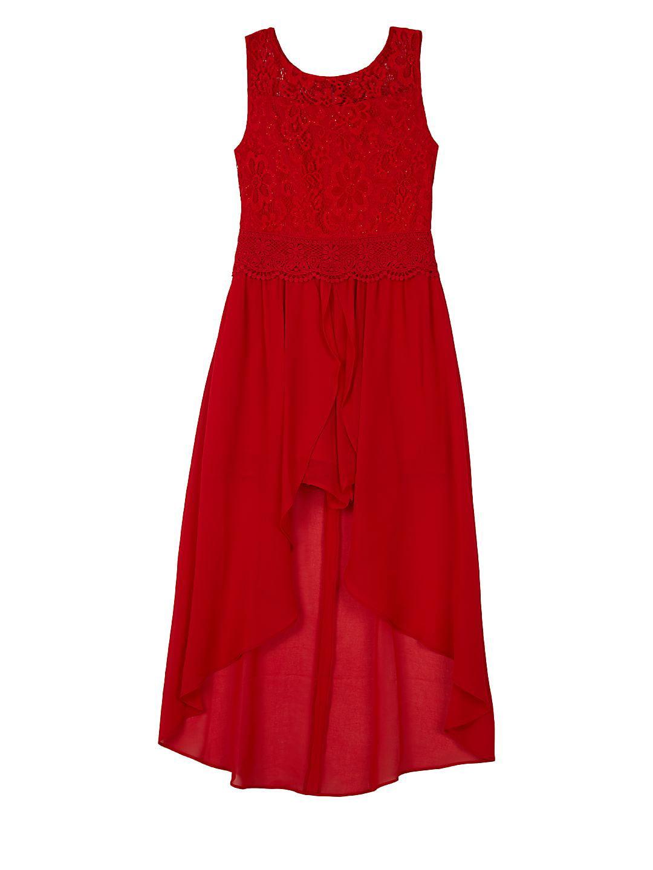 Girl's Lace Sharkbite Drape Dress