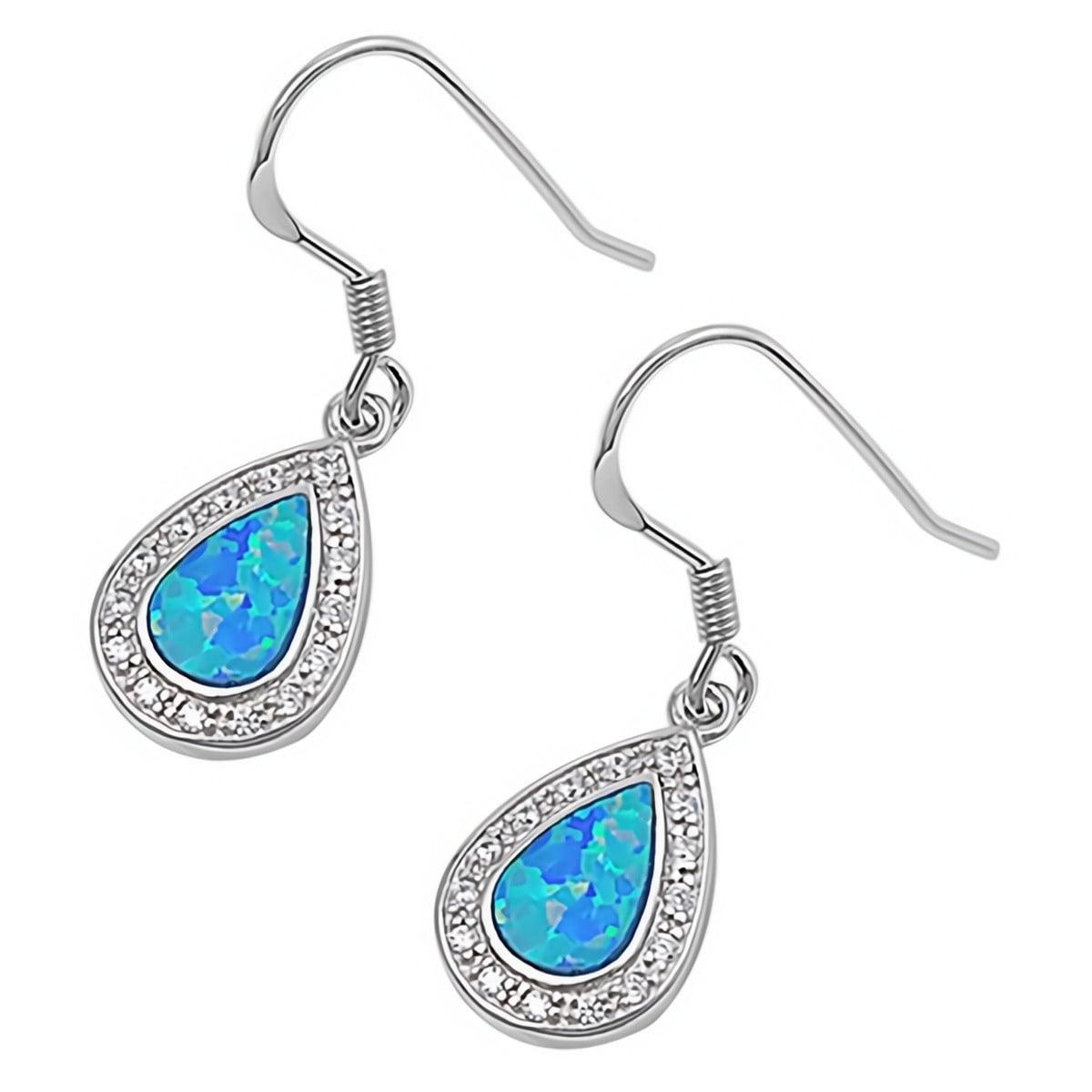 Glitzs Jewels 925 Sterling Silver Created Opal Earrings Blue Turtle | Cute Jewelry Gift