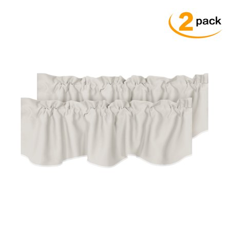 Room Darkening Blackout Window Curtain Valances for Living Room/Bedroom, 2 Pack, 52 inch x 18 inch, Solid Cream, by H.VERSAILTEX ()