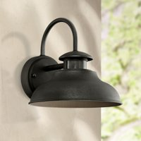 "John Timberland Outdoor Wall Light Fixture Urban Barn Black 9"" Motion Security Sensor Dusk to Dawn for House Deck Patio Porch"