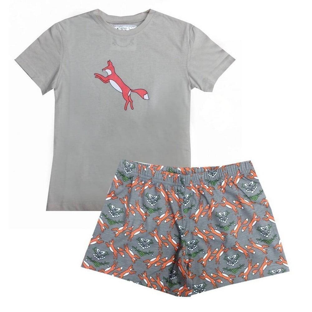 Gray Fox Printed T-shirt Shorts Girls Pajama Set 4-16