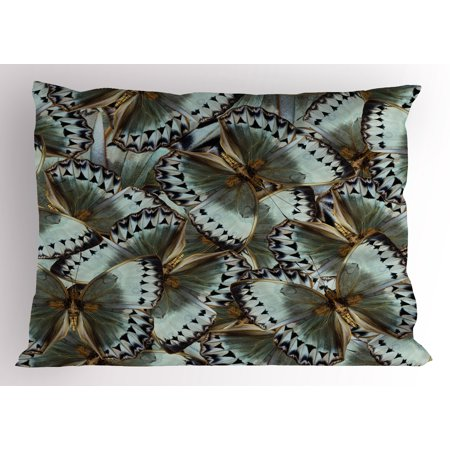 Exotic Pillow Sham Butterflies Jungle Queen Animal Spiritual Wings Nature Moth Transform Print, Decorative Standard Size Printed Pillowcase, 26 X 20 Inches, Almond Green Gold, by Ambesonne (Butterfly Transform Yourself)