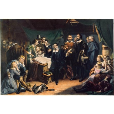 Mayflower Compact 1620 Nthe Pilgrims Signing The Compact Aboard The Mayflower Off The Coast Of Provincetown Massachusetts 11 November 1620 Engraving 1859 After Tompkins Harrison Matteson Poster Print