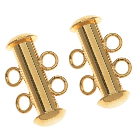 Rings Leaf Clasp - 22K Gold Plated Tube Clasp 16.5mm Two Rings Strands (4)