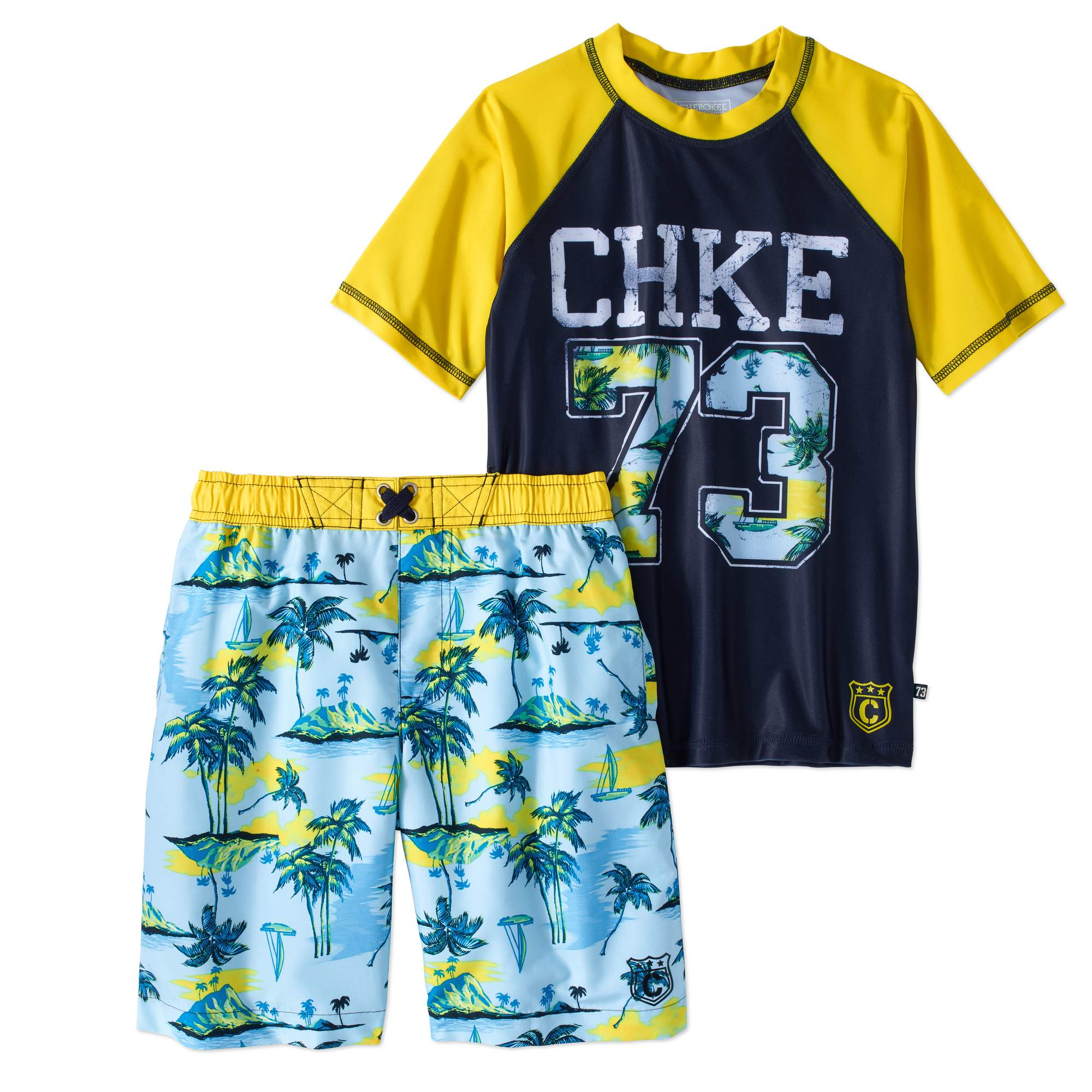 Boys' Graphic Rashguard And Swim Trunk 2 Piece Set