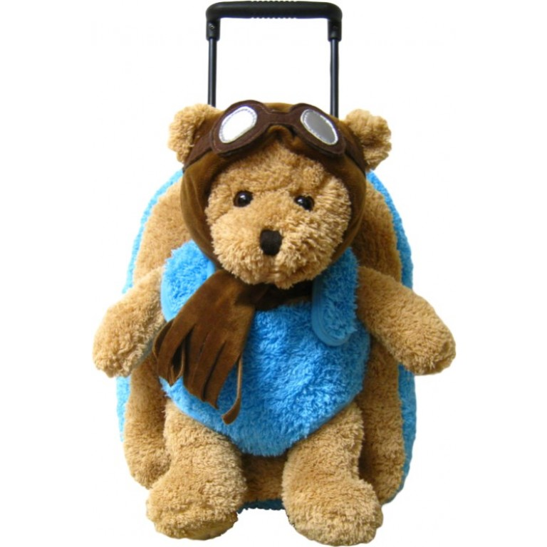 Kids Aviator Teddy Bear Animal Plush Luggage Toddlers Roller Backpack