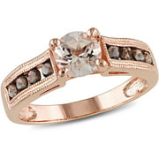 1-1/4 Carat T.G.W. Morganite and Smokey Quartz Rose Rhodium-Plated Sterling Silver Cocktail Ring