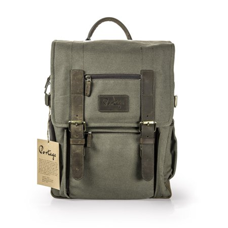 the kenora backpack by portage gen3 w/ side access! - camera, travel, gear, laptop bag - genuine leather and waxed canvas