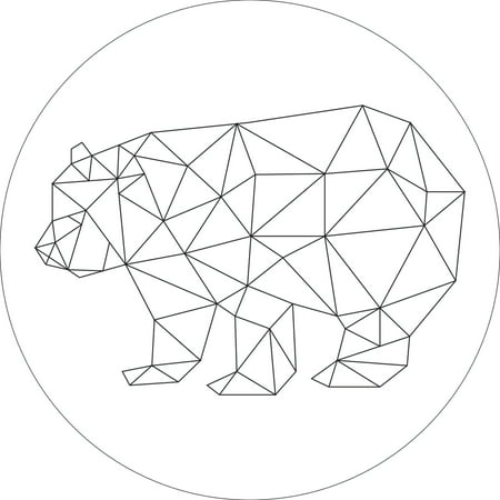 Round Origami (Fine Line Bear Wall Decoration Sign Wall Shelf Geometric Origami Round Size (9,12,or 18 Inches))