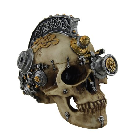 Retro-Futuristic Victorian Steampunk Skull in Metallic Mohawk Headdress