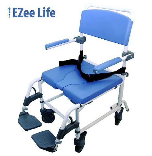 "Shower Transport Chair Bath Toilet Commode Bariatric 20"" Wide Seat - Aluminum Adjustable"