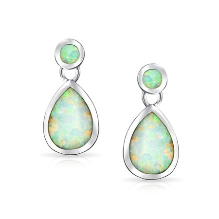 White Created Opal Iridescent Teardrop Pear Shaped Dangle Earrings For Women 925 Sterling Silver October Birthstone - image 1 of 4