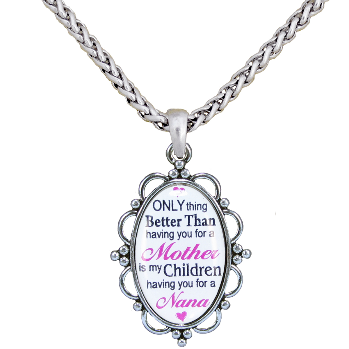 "Only Thing Better Than Mother Nana Silver Plate 30"" Necklace Jewelry Gift"