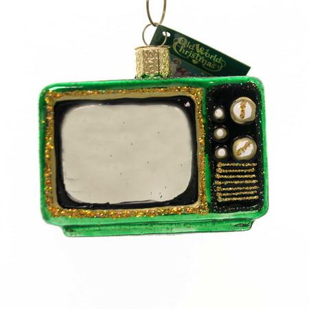 Old World Christmas Retro Tube TV Television Glass Ornament 32253 FREE BOX New