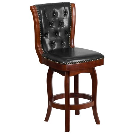 43.5'' High Cherry Wood Counter Height Stool with Button Tufted Back and Black Leather Swivel Seat Button Tufted Seat