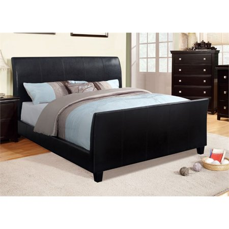 Furniture of america colvin king leather sleigh bed in for Furniture n more beds