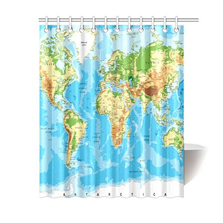 BPBOP World Globe Art Shower Curtain, World Map Polyester Fabric Shower  Curtain Bathroom Sets 60x72 Inches