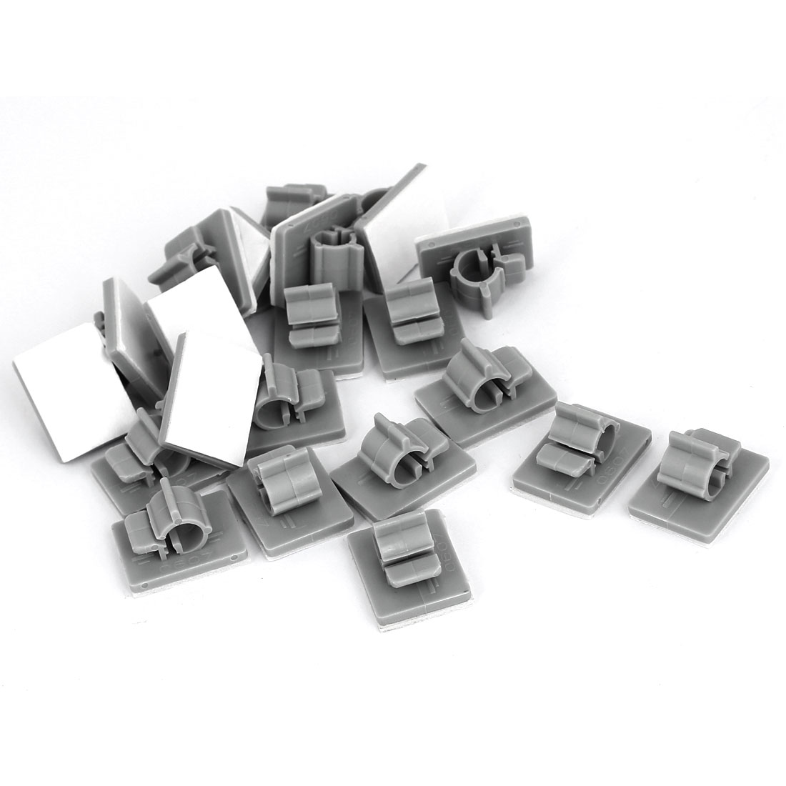 Unique Bargains 21pcs 6mm-7mm Cable Wire Holder Plastic Adhesive Clips Clamps Organizer Gray