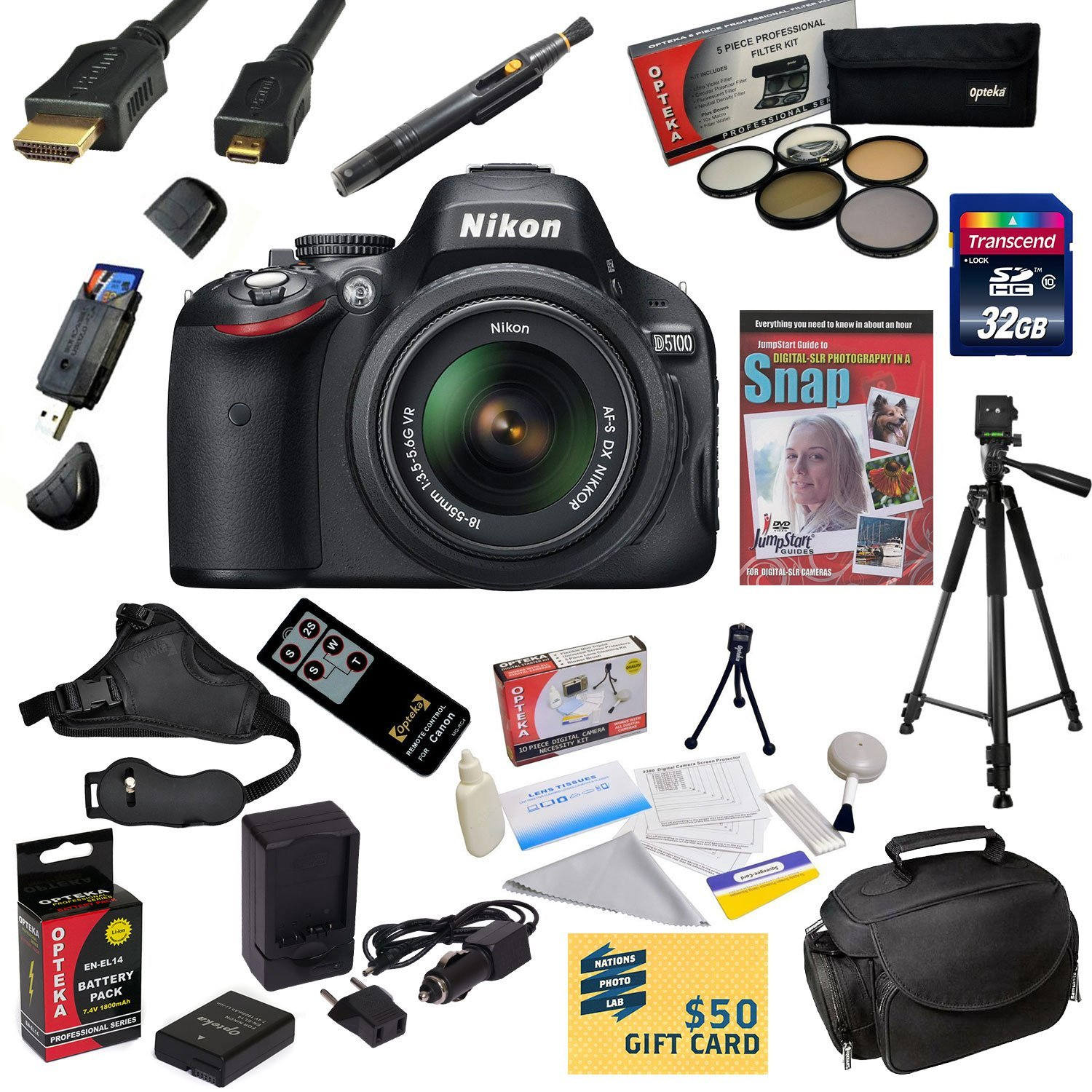 Nikon D5100 Digital SLR Camera with 18-55mm NIKKOR VR Lens 32GB SDHC Card, Reader, Extra Battery, Charger, 5 PC Filter, HDMI Cable, Case, Remote Control, Tripod, Grip Strap, DVD, $50 Gift Card, More