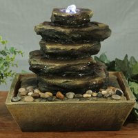 Sunnydaze Cascading Rocks Tabletop Water Fountain with LED Light, Indoor Small Relaxation Waterfall Feature, 12 Inch