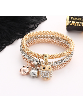 280c917e854 Product Image 3pcs Charm Women Bracelet Gold Silver Rose Gold Rhinestone Bangle  Jewelry Set