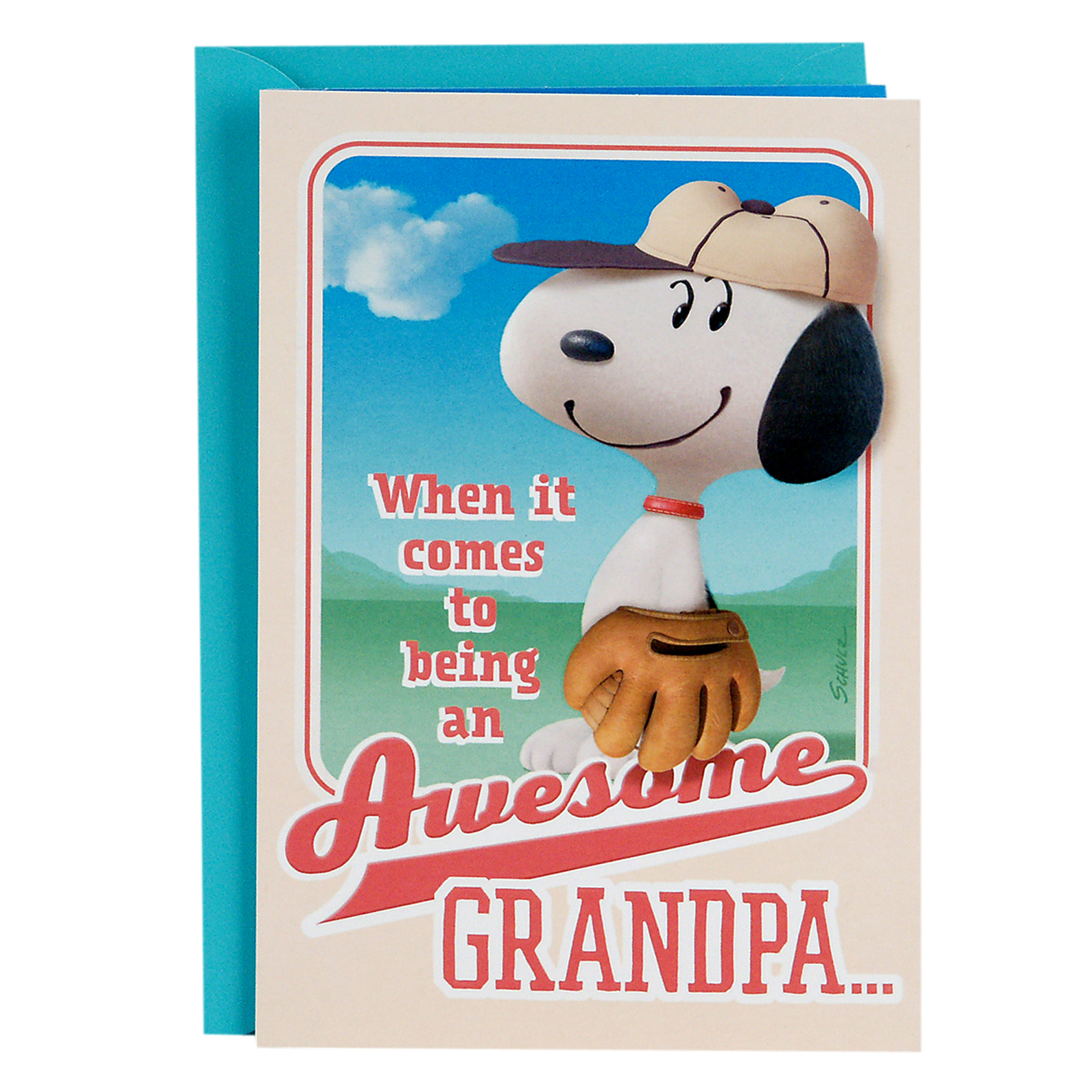 Hallmark, Peanuts Snoopy Baseball, Father's Day Greeting Card, for Grandpa from Kids or Child