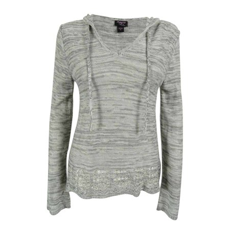 Hooked Up by IOT Juniors' Marled Pointelle Hem Hoodie Sweater