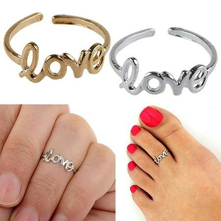 Adjustable Open Toe - ZeAofa Women's Fashion Simple Hollow Love Adjustable Finger Toe Open Ring Beach Jewelry