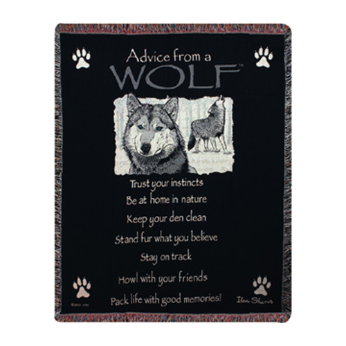 Manual Woodworkers & Weavers Advice From a Wolf Tapestry Cotton Throw