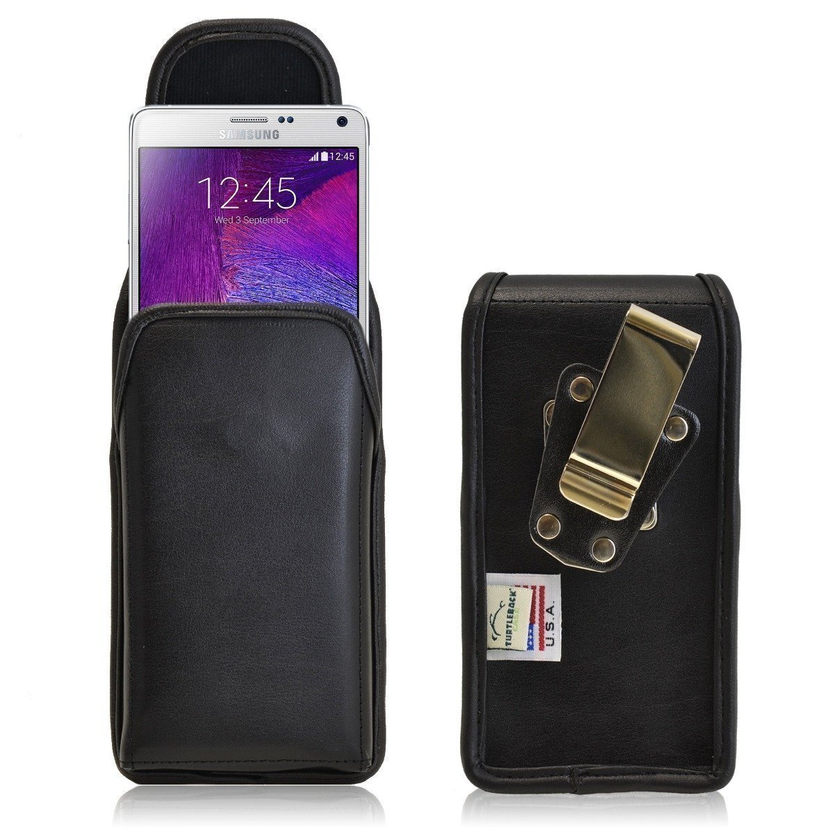 Note 4 Belt Case, Turtleback Vertical Galaxy Note 4 Holster, Rotating Belt Clip, Black Leather Pouch, Heavy Duty Made in USA