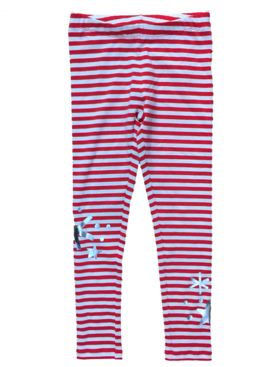 Girls Red & White Striped Snowflake Leggings Knit Christmas Holiday Pants