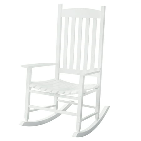 Mainstays Outdoor Wood Slat Rocking Chair White Brickseek
