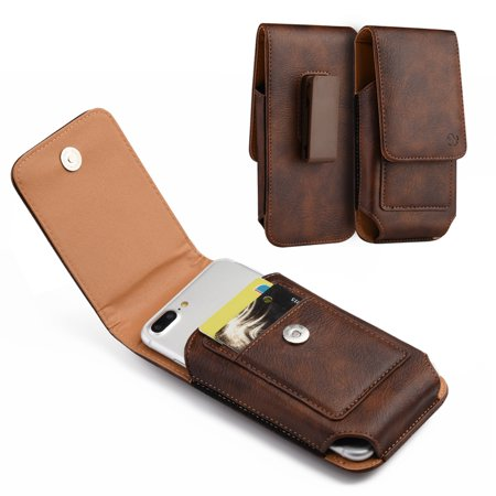 Zoom 3 Holster - Brown Leather Belt Clip Holster Case w/ 2 Credit Cards Slot For Asus ZenFone Max Plus (M1), ZenFone 5z, ZenFone 4 Pro, ZenFone 4, ZenFone 3 Zoom, ZenFone 4 Max