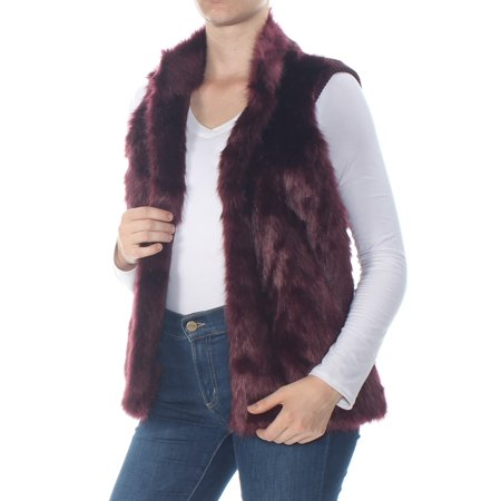 MICHAEL KORS Womens Burgundy Faux Fur Sleeveless Top  Size: M (M Kors Sonnenbrille)