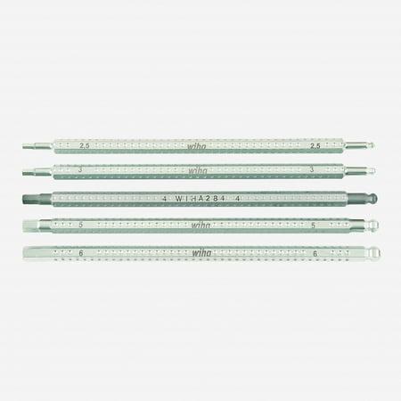 6 Hex Blade - Wiha 28476 Hex Metric + Ball End Drive-Loc 5 Blade Set