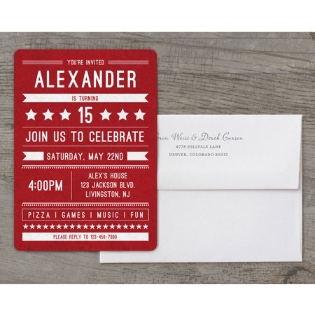 Birthday Banner Deluxe Teen Boy Invitation