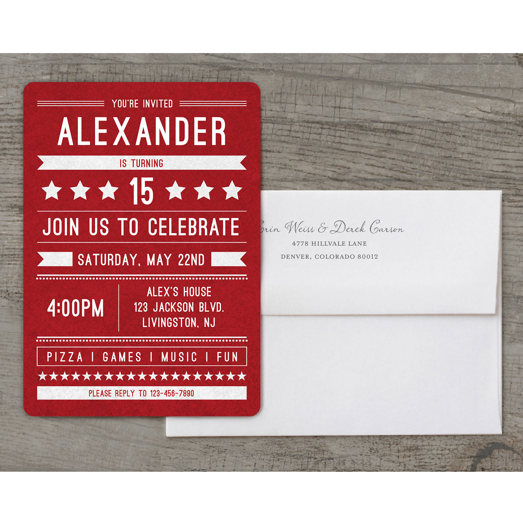 Birthday Banner Deluxe Birthday Teen Boy Invitation