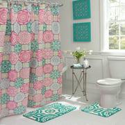 Pink/Blue/Green Geometric, Bathroom Set, 15 Piece, Addison