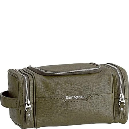 Samsonite- Leather Travel Accessories Dusk U-Zip Travel Kit (Olive)
