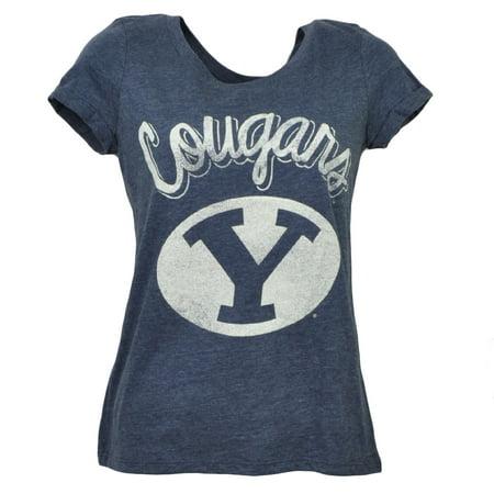 NCAA Brigham Young Cougars Womens Tshirt Tee Blue Crew Neck Short Sleeve