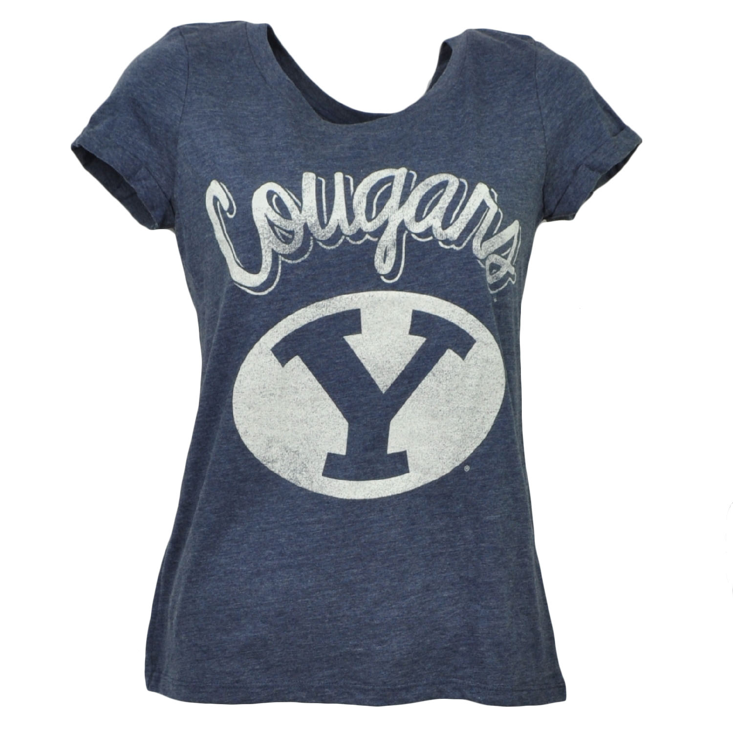 NCAA Brigham Young Cougars Womens Tshirt Tee Blue Crew Neck Short Sleeve Medium
