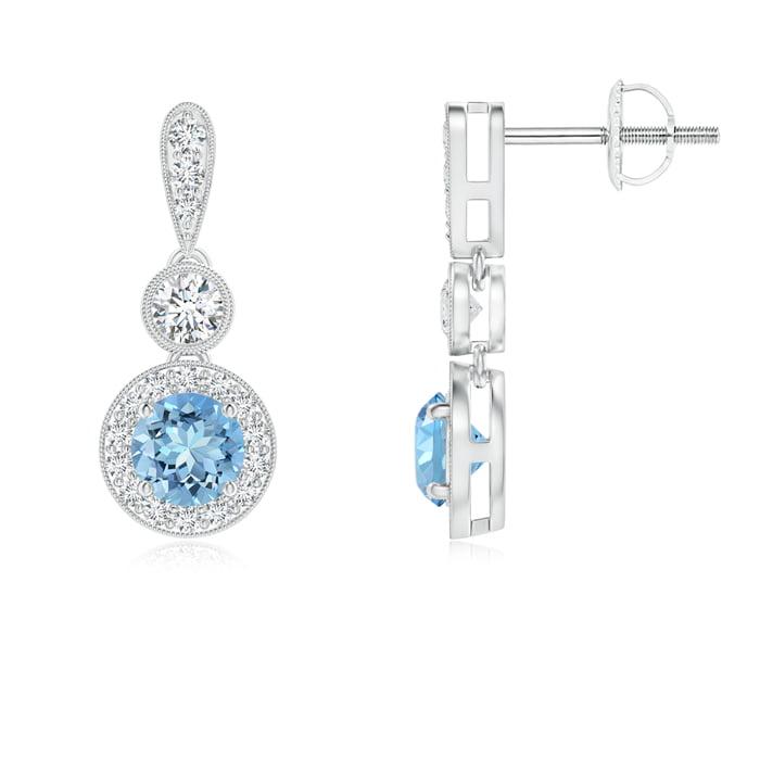 Angara Dangling Emerald and Diamond Halo Earrings with Milgrain in Platinum 11VnYz